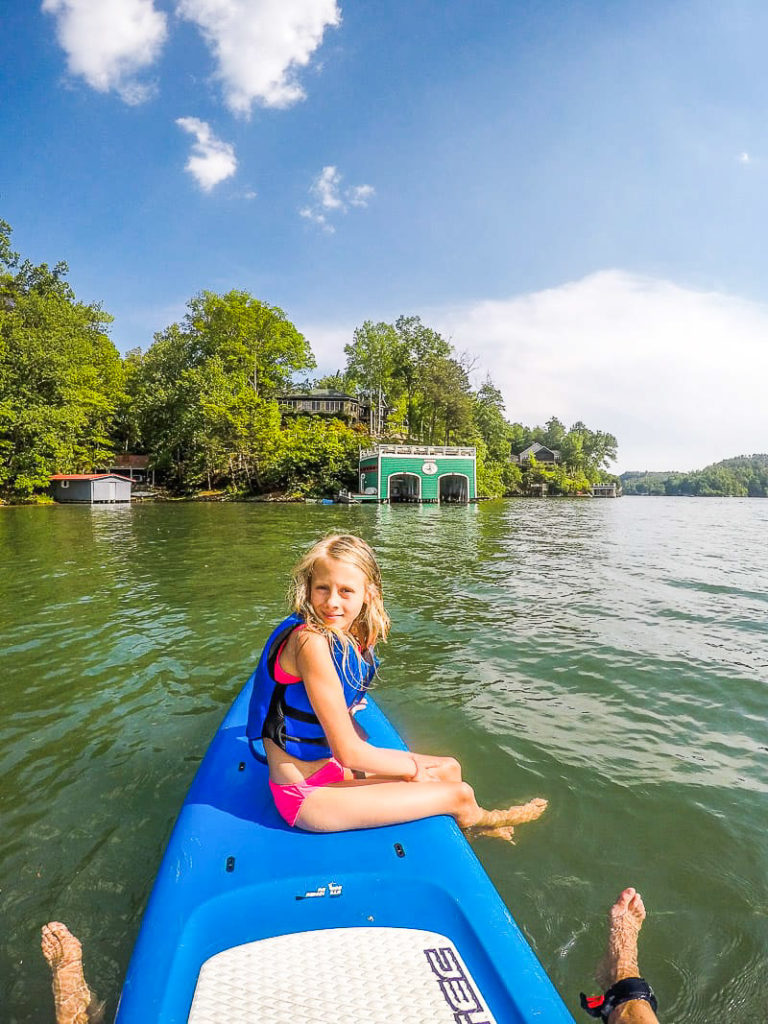 Paddle boarding on Lake Lure, North Carolina