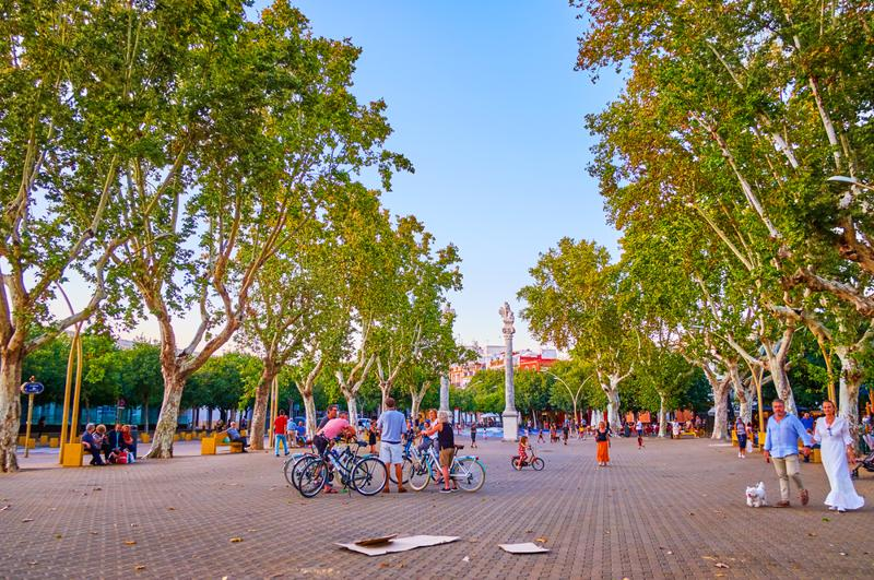 La Alameda square with large pedestrian area is one of the most beloved places for evening walks and the fine meeting point among cyclists