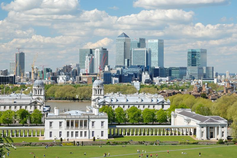 View over Greenwich with Canary Wharf in the background