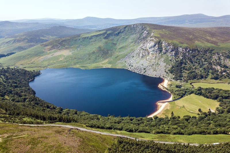 Drone view on the Lake Guiness (Lake Lough Tay)