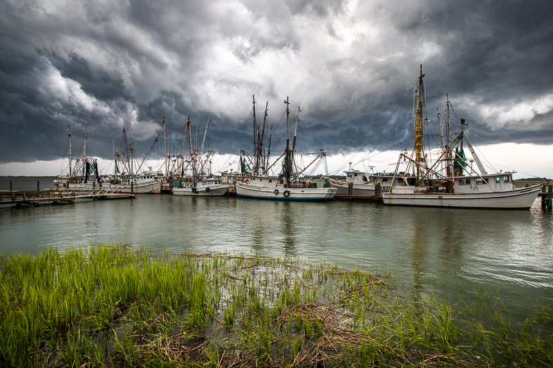 storm shrimp boats Beaufort, South Carolina