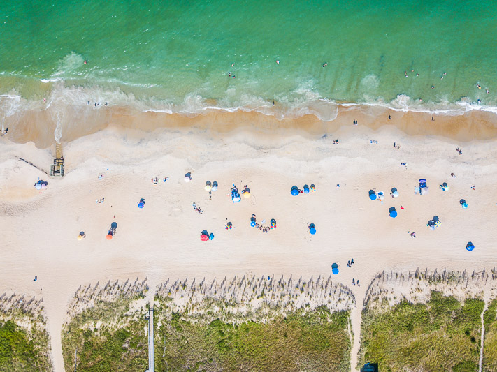 Drone shot of Kill Devil Hills Beach The Outer Banks, North Carolina