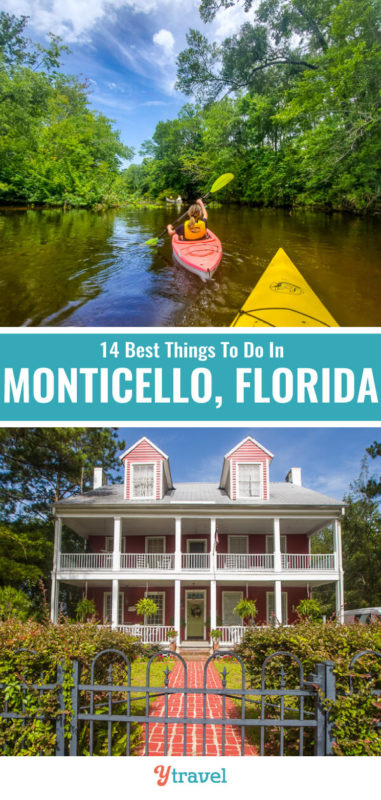 When you visit Monticello Florida, don't miss these 14 things, including kayaking, the airboat ride, the places to eat, and the shopping. See them all inside. Monticello is a fun Florida vacation spot.