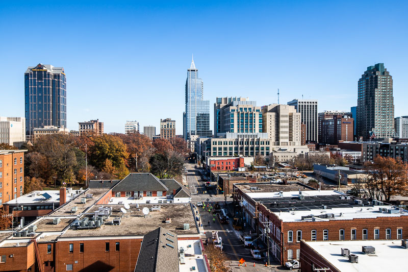 Overlooking the Warehouse District and downtown Raleigh