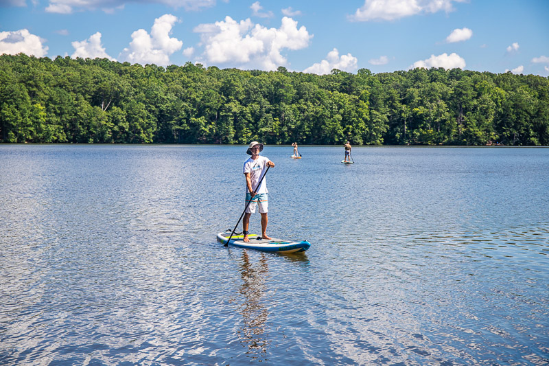 Paddle boarding on Lake Johnson, Raleigh