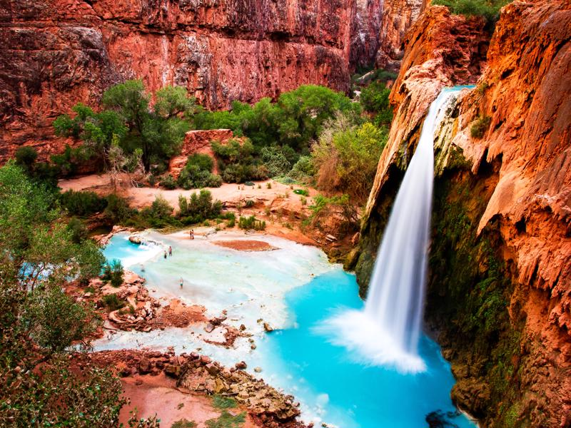 The Havasu Falls in the Havasupai Indian Reservation - Grand Canyon