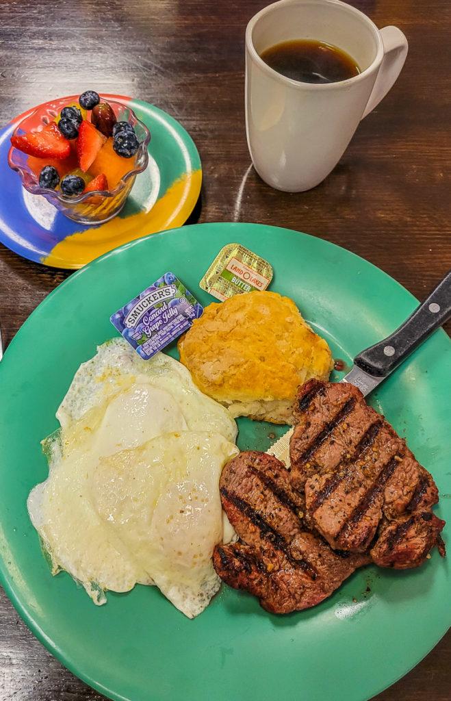 Steak & eggs at Jan's Place, Jenson, FLorida