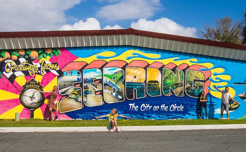 Welcome mural at Sebring, Florida