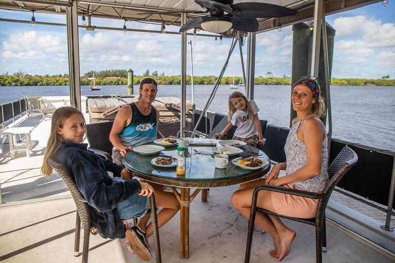 Breakfast on our VRBO houseboat