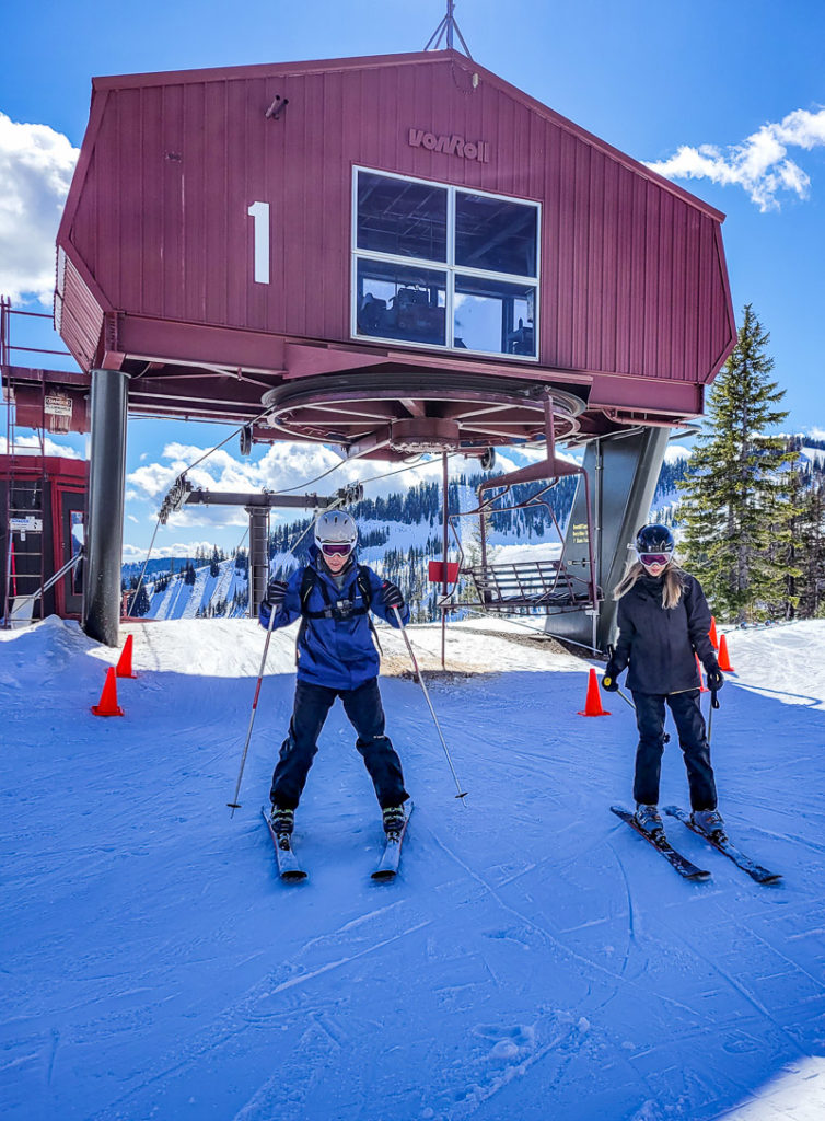 Getting off chair lift at Silver Mountain