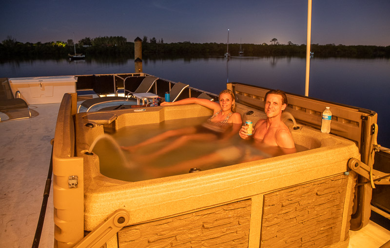 Relaxing in the hot tub under an open sky!
