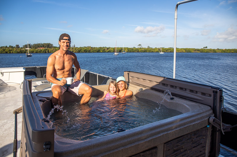 Hot tub on our Houseboat rental in Florida we found on VRBO.