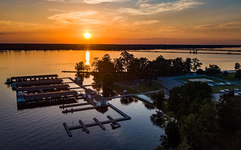 Sunset over Lake Blackshear Resort