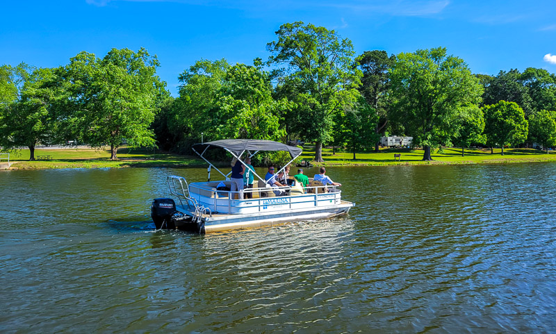 Pontoon boat at Disc gold at Lake Blackshear Resort and Golf Club
