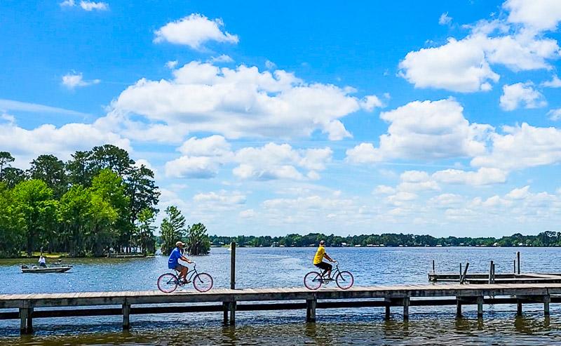 Biking around Lake Blackshear Resort and Golf Club, Georgia